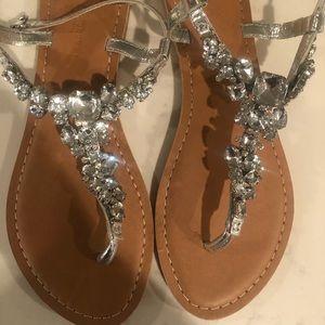 ASOS silver embellished sandals. Never worn.